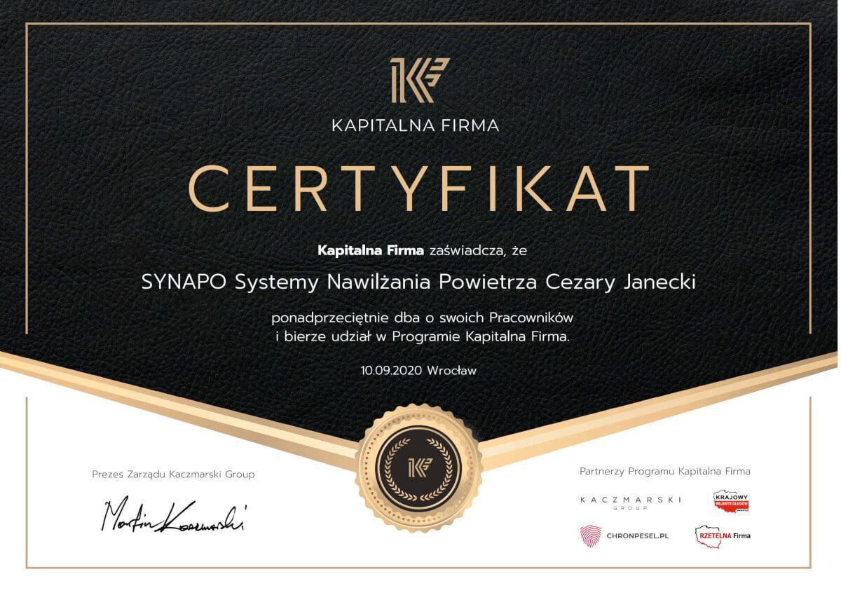 Certyfikat Kapitalna firma